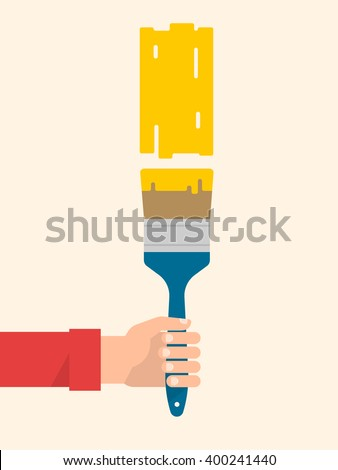 Men's hand holds a paint brush with a yellow color. Interior design, repair concept. Isolated vector illustration flat design. Vertical banner - stock vector