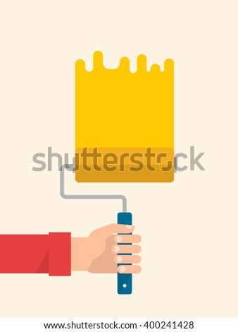 Men's hand holds a paint roller with a yellow color. Interior design, repair concept. Isolated vector illustration flat design. Vertical banner - stock vector