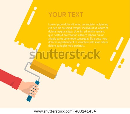 Men's hand holds a paint roller with a yellow color. Interior design, repair concept. Isolated vector illustration flat design. Blank template for your text - stock vector