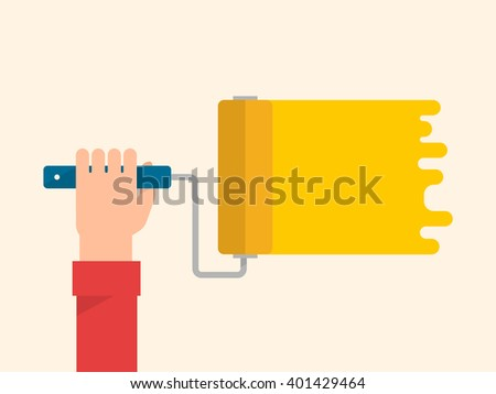 Men's hand holds a paint roller with a yellow color. Interior design, repair concept. Isolated vector illustration flat design. Horizontal banner - stock vector
