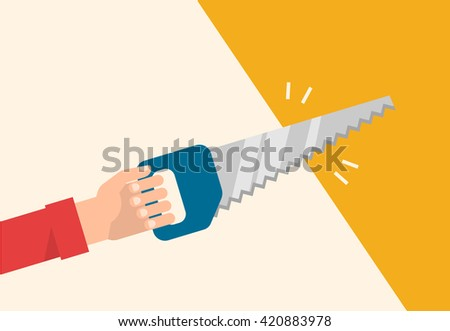 Men's hand holds a saw. Construction, carpentry, repair concept. Isolated vector illustration flat design. - stock vector