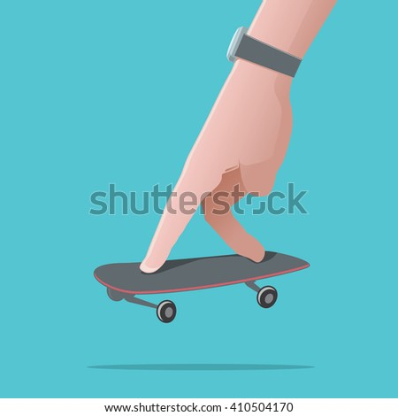 Men`s hand playing with fingerboard. Playing sport concept. Vector illustration - stock vector