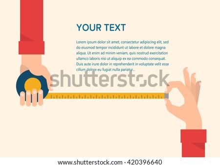 Men's hands hold a measuring tape. Construction, engineering, repair concept. Isolated vector illustration flat design. Template for your text - stock vector