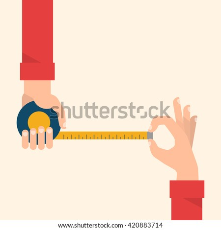 Men's hands hold a measuring tape. Construction, engineering, repair concept. Isolated vector illustration flat design. - stock vector