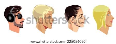 men's heads in profile - stock vector