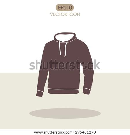 Men's hooded sweatshirt vector icon. Raglan icon. - stock vector