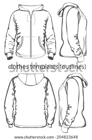 Men's hooded sweatshirt with zipper and pockets (back, front and side view). Outlines. Vector illustration. - stock vector