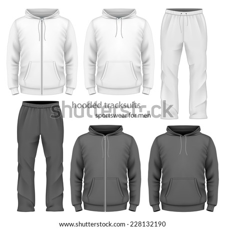 Men's hooded tracksuits. Black and white variants. Vector illustration. - stock vector