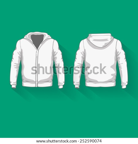 Men's hoodie shirts template. Front and back views. Vector illustration. - stock vector
