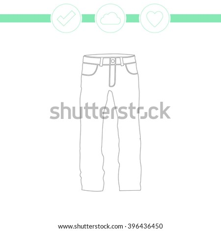 Men's jeans or pants vector icon.