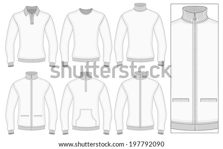 Mens Long Sleeve Clothes Templates Front Stock Vector 197792090 ...