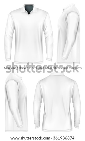 Men's long sleeve polo shirt (front, side and back views). Vector illustration. Fully editable handmade mesh. - stock vector