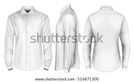 Men's long-sleeved shirt. Front, side and back views of shirt. Fully editable handmade mesh. Vector illustration.