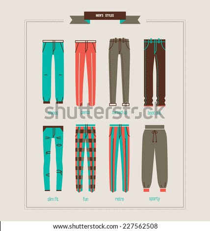 men's pants and jeans vector illustration eps 10 - stock vector