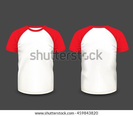 mens raglan tshirt red short sleeve stock vector 459843820 shutterstock. Black Bedroom Furniture Sets. Home Design Ideas