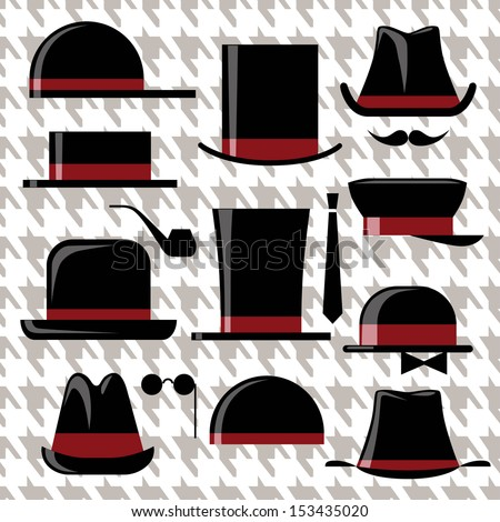 Men's retro hats set - stock vector