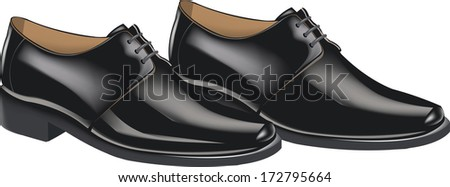 men's shiny black shoes for the ceremony, - stock vector