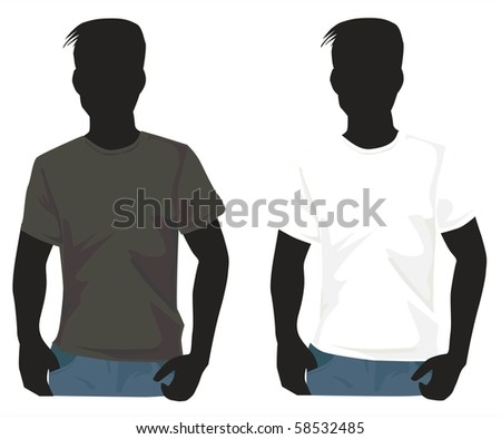 Men's  shirt template with human body silhouette