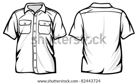 Men's shirt - white short sleeve shirts - stock vector