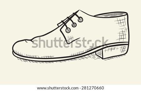 Men's shoes sketch -  illustration - stock vector