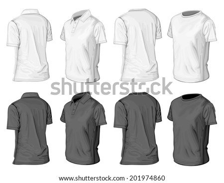 Men's short sleeve polo-shirt and t-shirt design templates (half-turned views). Vector illustration. - stock vector