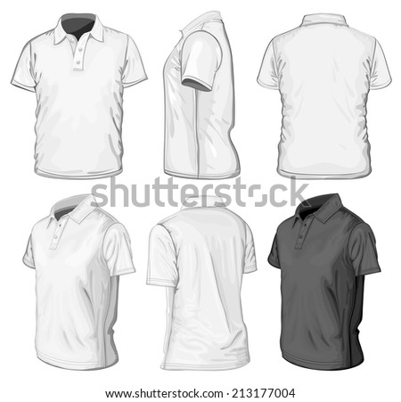 Men's short sleeve polo-shirt design templates (front, rear, side and half-turned views). Vector illustration. - stock vector