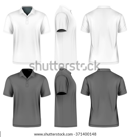 Men's slim-fitting short sleeve polo shirt. Front, back and side views. White and black variants. Vector illustration. Fully editable handmade mesh. - stock vector