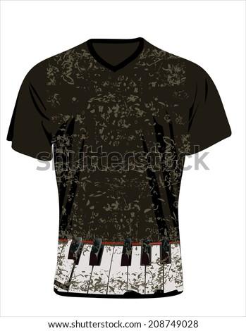 Men's t-shirt design template. Grunge musical background - piano keys, sheet music - vintage design. Grunge background - stock vector