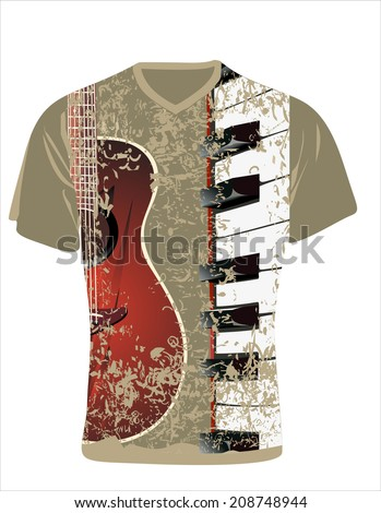 Men's t-shirt design template. Guitar and piano  - stock vector