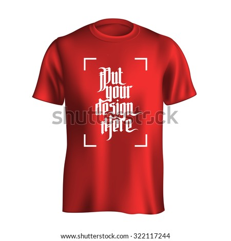 Men's t-shirt design template. Red mock-up isolated on white background - stock vector