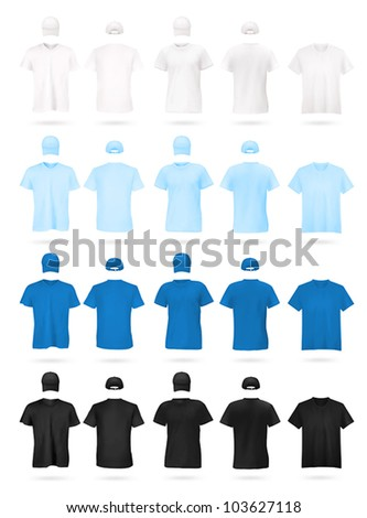 Men's t-shirts and hats template. White, blue and black colors. - stock vector