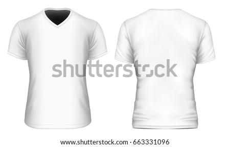 Mens vneck short sleeve tshirt front stock vektorgrafik for V neck back shirt