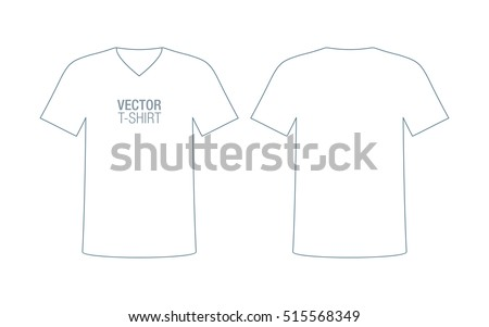 Mens Vneck Vector Tshirt Template Front Stock Vector 515568349 ...