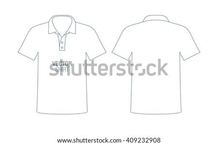 Men's vector polo shirt silhouette. Boys short sleeve classic shirt template. - stock vector
