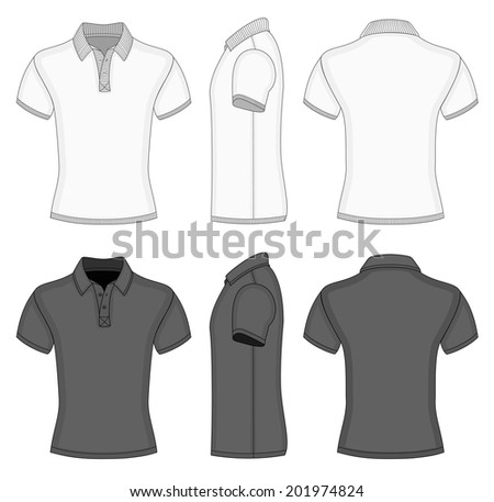 Men's white and black short sleeve polo shirt and t-shirt design templates (front, back and side views). Ribbed collar, cuffs and waistband. Vector illustration - stock vector