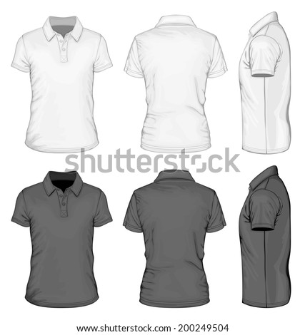Men's white and black short sleeve polo-shirt design templates (front, back, and side views). Vector illustration. - stock vector