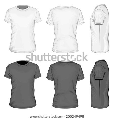 Men's white and black short sleeve t-shirt design templates (front, back, and side views). Vector illustration. - stock vector