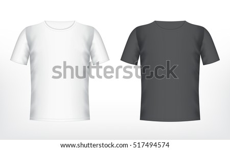 Men's white and black t-shirt with short sleeve. Vector mockup. EPS10