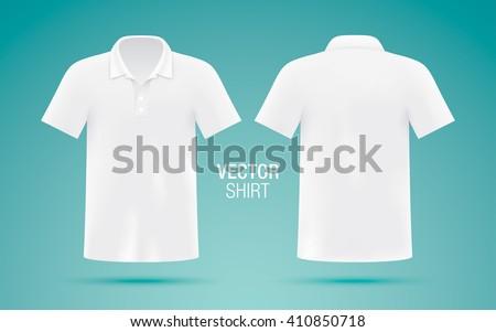 Men's white vector polo shirt template. Realistic mockup. - stock vector