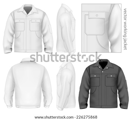 Men's working jacket (front, back and side views). Vector illustration contains gradient mesh. - stock vector