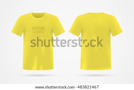 mens yellow vector tshirt template isolated stock vector royalty