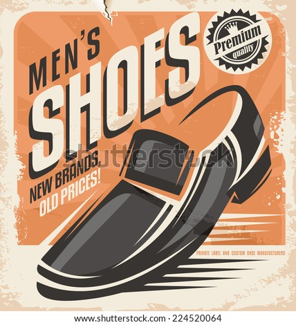 Men shoes retro poster design concept. Vintage vector document template for footwear store on old paper texture. - stock vector
