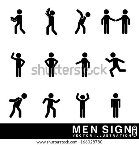 men sign over white background vector illustration  - stock vector