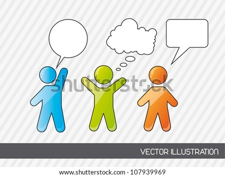 men sign with thought bubbles. vector illustration