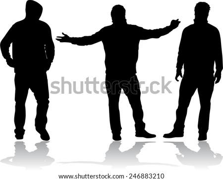 men silhouettes - stock vector