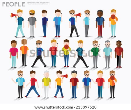 Men talk and gather together vector design - stock vector