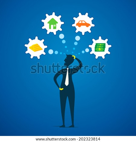 men think about different dream like money, gold, house and car concept vector - stock vector