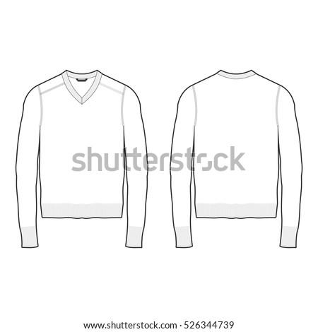 Men Vneck Sweater Template Stock Vector 526344739 ...