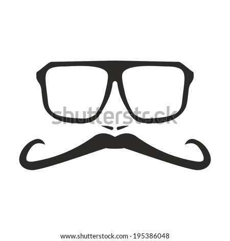 Men vector face with long mustache and huge, hipster glasses. Black american retro truck driver silhouette isolated on white background. - stock vector