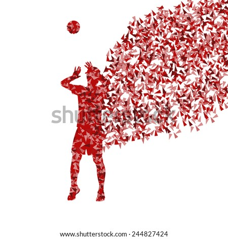 Men volleyball player silhouette vector background concept made of fragments - stock vector